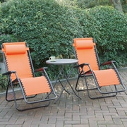 Poundex Lizkona Gavin Zero Gravity Patio Lounge Chair w/ Cushion (Set of 2); Orange