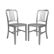 LeisureMod Alton Modern Side Chair (Set of 2); Silver