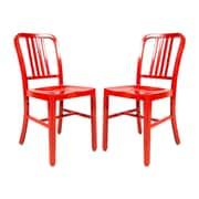 LeisureMod Alton Modern Side Chair (Set of 2); Red