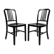 LeisureMod Alton Modern Side Chair (Set of 2); Black