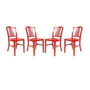 LeisureMod Alton Modern Side Chair (Set of 4); Red