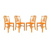 LeisureMod Alton Modern Side Chair (Set of 4); Orange