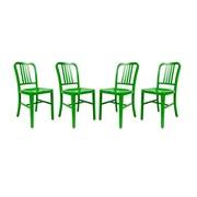LeisureMod Alton Modern Side Chair (Set of 4); Green