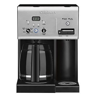 Cuisinart Coffee Plus 12 Cups Programmable Refurbished Coffeemaker with Hot Water System, Black/Stainless (CHW-12FR) IM14T9648