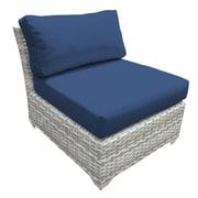 TK Classics Fairmont Armless Chair w/ Cushions (Set of 2); Navy