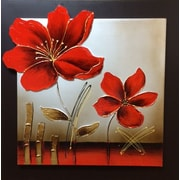 Quest Products Inc 3D Effect Enamel Flower Original Painting on Wrapped Canvas