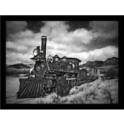 Buy Art For Less 'Railroad Train Black and White' by Michael Petrizzo Framed Photographic Print