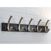 Richelieu Contemporary Wall Mounted Coat Rack; Black/Brushed Nickel