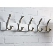 Richelieu Contemporary Wall Mounted Coat Rack; White/Brushed Nickel