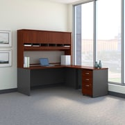 Bush Business Westfield 72W L-Desk with 4-Door Hutch and 3-Drawer Mobile Pedestal, Hansen Cherry/Graphite Gray
