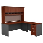 Bush Business Westfield 72W L-Desk with 4-Door Hutch and 3-Drawer Mobile Pedestal, Hansen Cherry/Graphite Gray, Installed