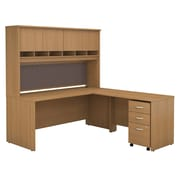 Bush Business Westfield 72W L-Desk with 4-Door Hutch and 3-Drawer Mobile Pedestal, Danish Oak