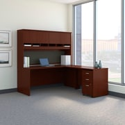 Bush Business Westfield 72W L-Desk with 4-Door Hutch and 3-Drawer Mobile Pedestal, Cherry Mahogany
