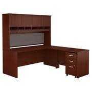 Bush Business Westfield 72W L-Desk with 4-Door Hutch and 3-Drawer Mobile Pedestal, Cherry Mahogany, Installed