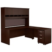 Bush Business Westfield 72W L-Desk with 4-Door Hutch and 3-Drawer Mobile Pedestal, Mocha Cherry