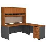 Bush Business Westfield 72W L-Desk with 4-Door Hutch and 3-Drawer Mobile Pedestal, Natural Cherry/Graphite Gray, Installed