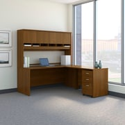 Bush Business Westfield 72W L-Desk with 4-Door Hutch and 3-Drawer Mobile Pedestal, Cafe Oak