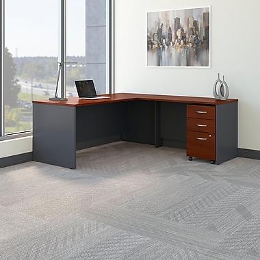 Bush Business Westfield 72W L- Desk with 3-Drawer Mobile Pedestal, Hansen Cherry/Graphite Gray
