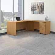 Bush Business Westfield 72W L- Desk with 3-Drawer Mobile Pedestal, Danish Oak, Installed