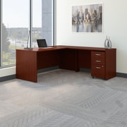 Bush Business Westfield 72W L- Desk with 3-Drawer Mobile Pedestal, Cherry Mahogany, Installed