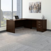 Bush Business Westfield 72W L- Desk with 3-Drawer Mobile Pedestal, Mocha Cherry, Installed