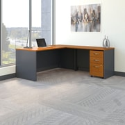 Bush Business Westfield 72W L- Desk with 3-Drawer Mobile Pedestal, Natural Cherry/Graphite Gray, Installed