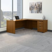 Bush Business Westfield 72W L- Desk with 3-Drawer Mobile Pedestal, Cafe Oak, Installed