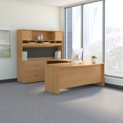 Bush Business Westfield 72W Bowfront LH U-Station with 2-Door Hutch and Lateral File, Danish Oak, Installed