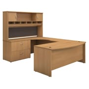 Bush Business Westfield 72W Bowfront LH U-Station with 2-Door Hutch and Lateral File, Danish Oak