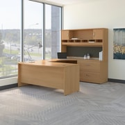 Bush Business Westfield 72W Bowfront RH U-Station with 2-Door Hutch and Lateral File, Danish Oak, Installed