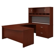 Bush Business Westfield 72W Bowfront RH U-Station with 2-Door Hutch and Lateral File, Cherry Mahogany, Installed