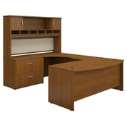 Bush Business Westfield 72W Bowfront LH U-Station with 2-Door Hutch and Lateral File, Cafe Oak