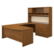 Bush Business Westfield 72W Bowfront RH U-Station with 2-Door Hutch and Lateral File, Cafe Oak