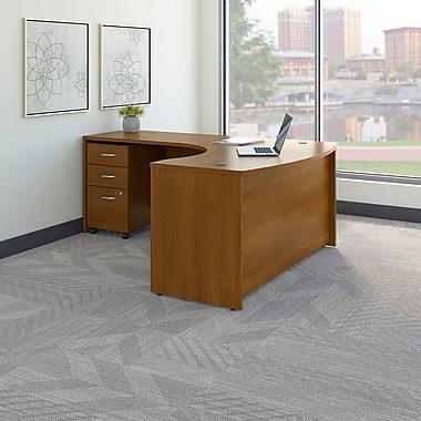 Bush Business Westfield 60W LH L-Bow Desk Shell with 3-Drawer Mobile Pedestal, Cafe Oak