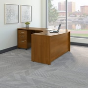 Bush Business Westfield 60W LH L-Bow Desk Shell with 3-Drawer Mobile Pedestal, Cafe Oak, Installed