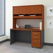 Bush Business Westfield 60W Desk/Credenza Shell with Hutch and 3-Dwr Mobile Pedestal, Autumn Cherry/Graphite Gray