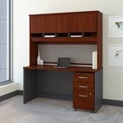 Bush Business Westfield 60W Desk/Credenza Shell with Hutch and 3-Dwr Mobile Pedestal, Hansen Cherry/Graphite Gray