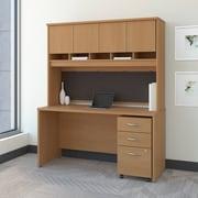 Bush Business Westfield 60W Desk/Credenza Shell with Hutch and 3-Dwr Mobile Pedestal, Danish Oak