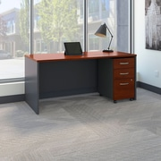 Bush Business Westfield 66W Shell Desk with 3-Drawer Mobile Pedestal, Hansen Cherry/Graphite Gray, Installed
