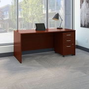 Bush Business Westfield 66W Shell Desk with 3-Drawer Mobile Pedestal, Cherry Mahogany, Installed