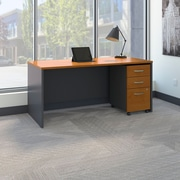 Bush Business Westfield 66W Shell Desk with 3-Drawer Mobile Pedestal, Natural Cherry/Graphite Gray, Installed