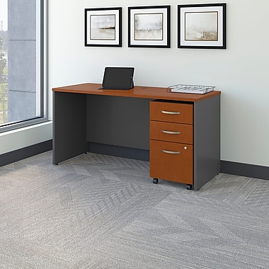 Bush Business Westfield 60W Desk/Credenza Shell with 3-Drawer Mobile Pedestal, Autumn Cherry/Graphite Gray