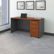 Bush Business Westfield 60W Desk/Credenza Shell with 3-Drawer Mobile Pedestal, Autumn Cherry/Graphite Gray