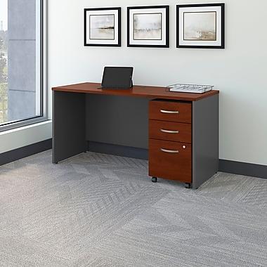 Bush Business Westfield 60W Desk/Credenza Shell with 3-Drawer Mobile Pedestal, Hansen Cherry/Graphite Gray