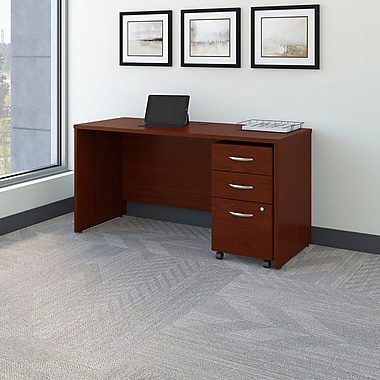 Bush Business Westfield 60W Desk/Credenza Shell with 3-Drawer Mobile Pedestal, Cherry Mahogany