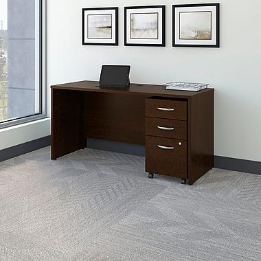 Bush Business Westfield 60W Desk/Credenza Shell with 3-Drawer Mobile Pedestal, Mocha Cherry