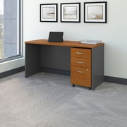 Bush Business Westfield 60W Desk/Credenza Shell with 3-Drawer Mobile Pedestal, Natural Cherry/Graphite Gray