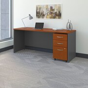 Bush Business Westfield 72W Shell Desk/Credenza with 3-Drawer Mobile Pedestal, Autumn Cherry/Graphite Gray