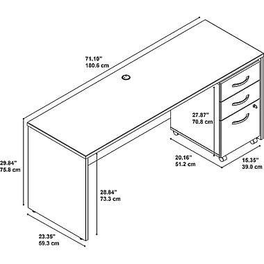 Bush – Coquille de bahut/bureau de 72 po de largeur Westfield avec caisson mobile à 3 tiroirs, chêne café