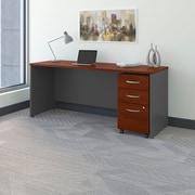 Bush Business Westfield 72W Shell Desk/Credenza with 3-Drawer Mobile Pedestal, Hansen Cherry/Graphite Gray